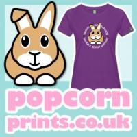 Image of a T-shirt with 'Bonkers about Bunnies' design
